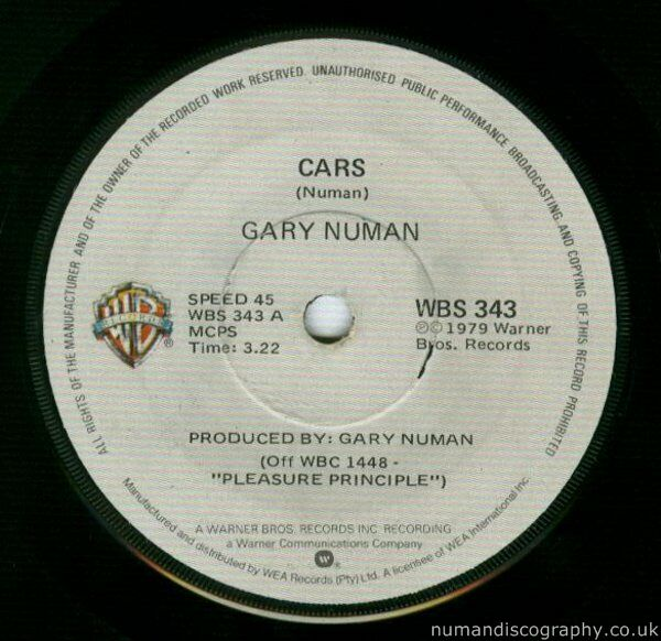 Gary Numan Cars 1979 South Africa