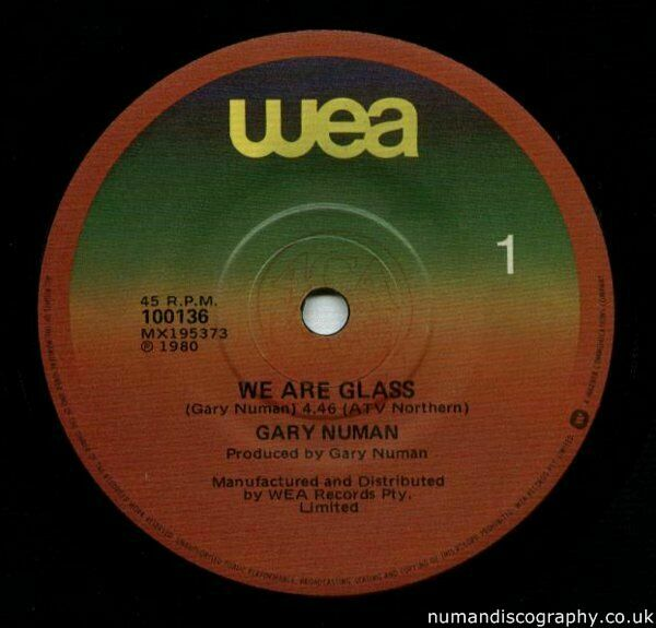 Gary Numan We Are Glass 1980 Australia
