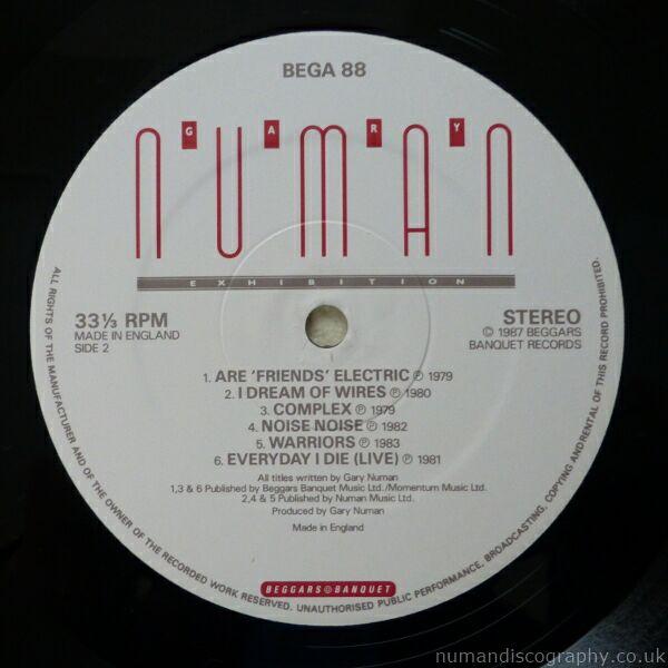 Gary Numan Albums Exhibition 1987