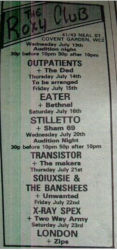 The Roxy Newspaper Advery 1977