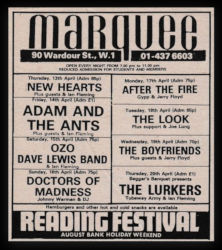 London Marquee Advert 1978