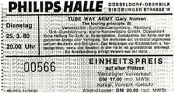 Dusseldorf Philipshalle Ticket 1980