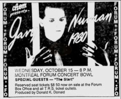 Gary Numan Montreal Forum Newspaper Clipping 1980