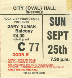 Gary Numan Sheffield Ticket 1985
