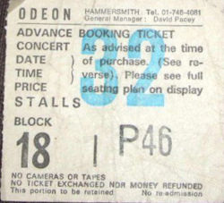 Gary Numan London Ticket 1987