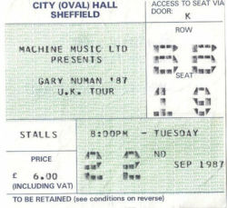 Sheffield Ticket 1987