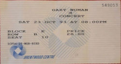 Gary Numan Brentwood Centre Ticket 1993
