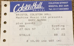 Gary Numan Bristol Ticket 1997