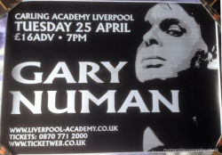 Gary Numan 2006 Jagged Tour Venue Poster Liverpool