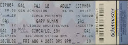 Gary Numan Toronto Ticket 2006