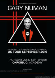 Gary Numan Venue Poster 2016 Oxford